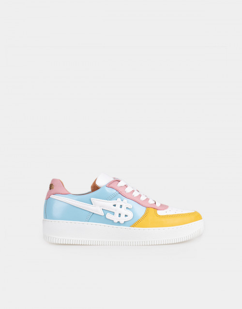 Sneakers bassa in pelle multicolor