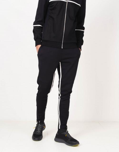 Pantaloni felpa neri con inserti bianchi
