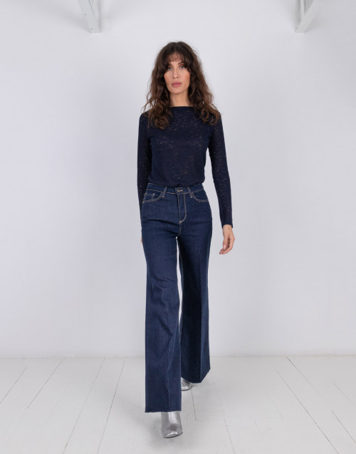 Wide leg cotton denim pants