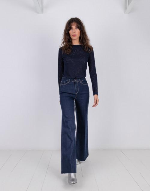 Jeans a zampa in denim scuro