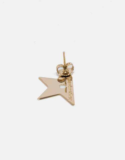 Large gold half star earring