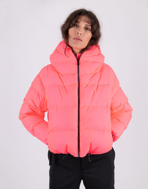Pink fluo shorty down jacket