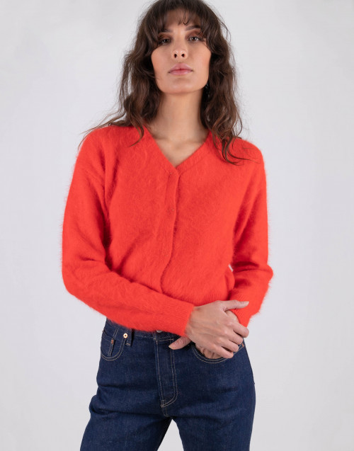 Cropped waved angora cardigan