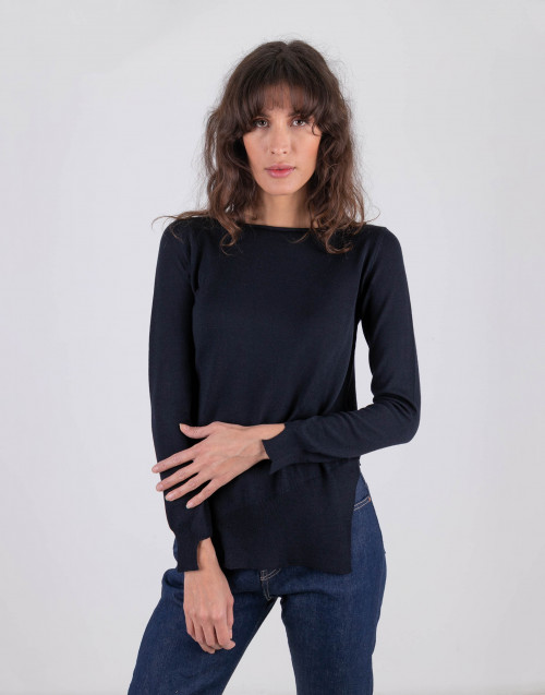 Blu asymmetrical wool knit sweater