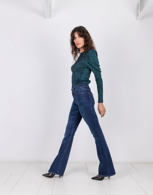 Jeans cindy a zampa in denim scuro