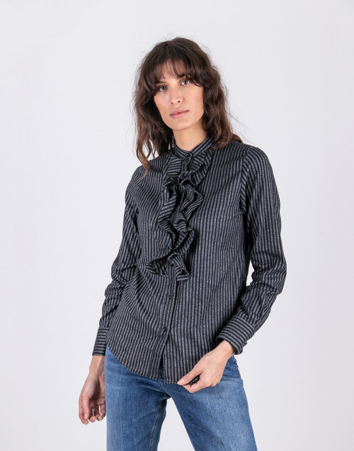 Black and gray stripe cotton shirt
