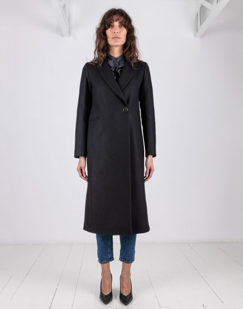 Black long coat Adelle Semicouture