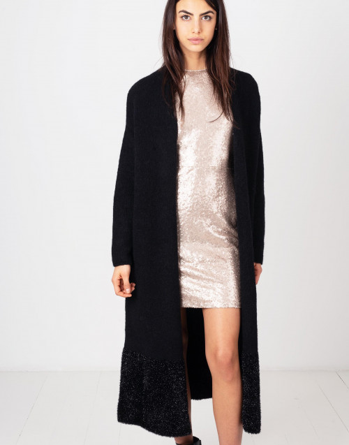 Long lurex black coat