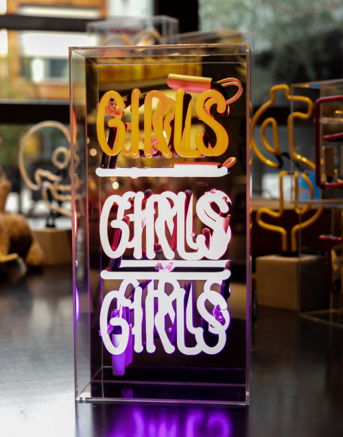 "ACRYLIC BOX NEON LIGHT ""GIRLS GIRLS GIRLS"