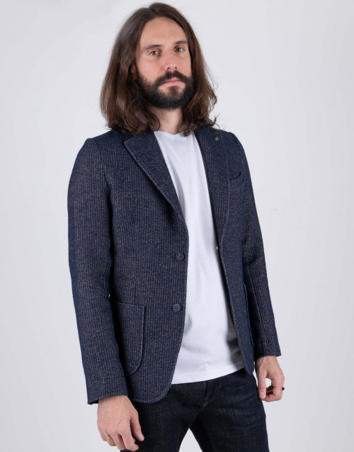 Blu harringbone coat