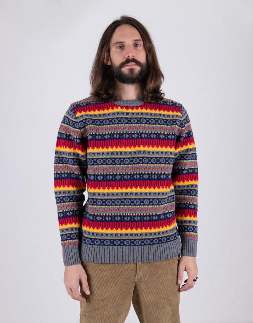 Maglione girocollo multicolor in lana