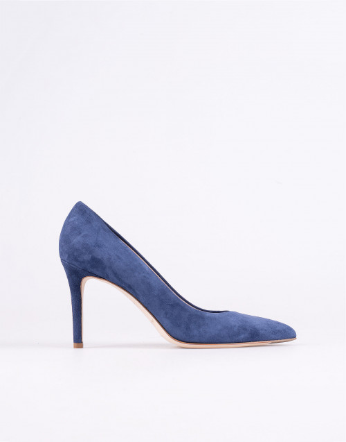 Blue suede decollete