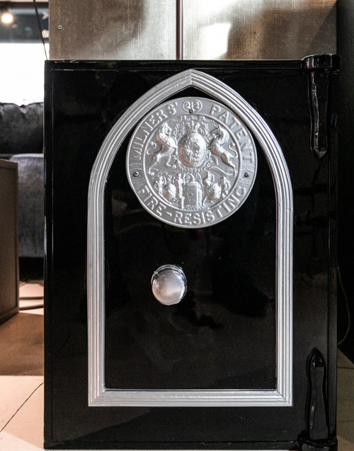 Black vintage safe restored