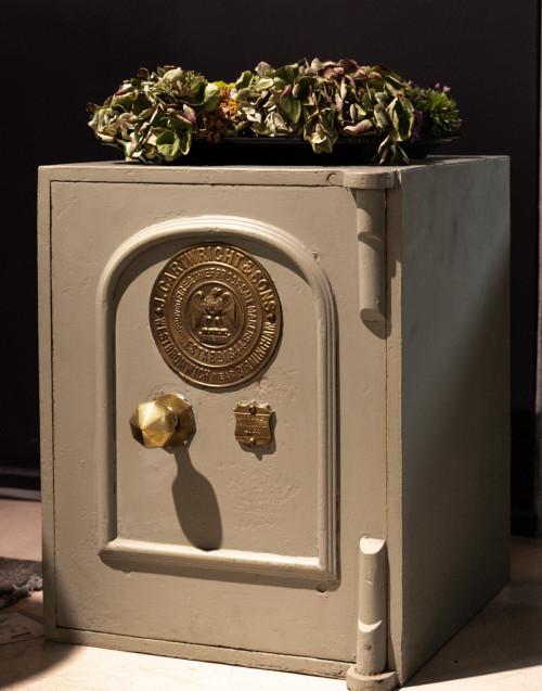Gray vintage safe